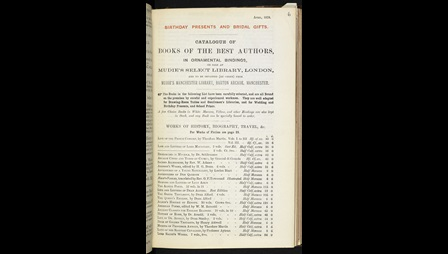 Page from a catalogue listing books held by Mudie's Circulating Library