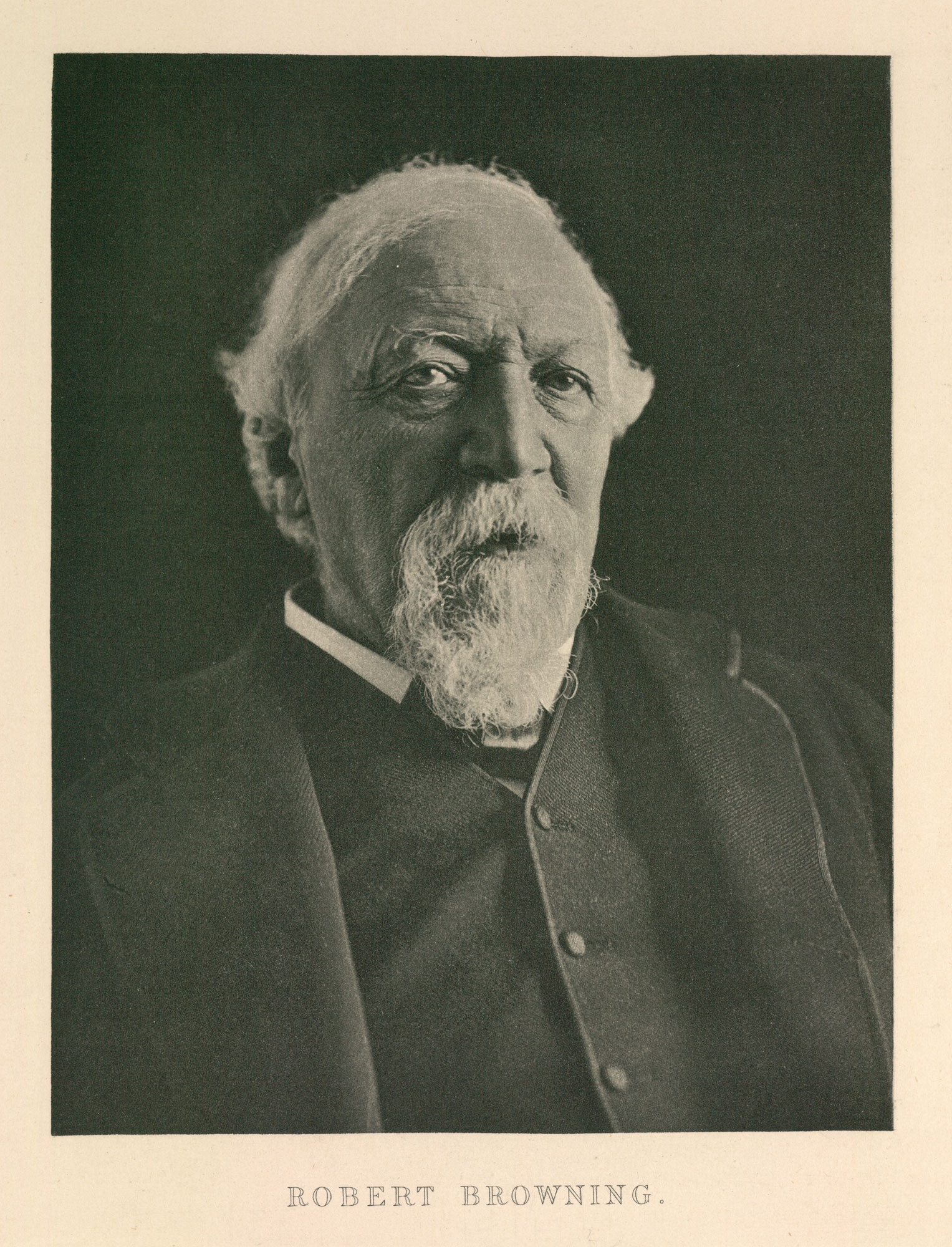 Photograph portrait of Robert Browning by F W H Myers [page: no. 7 ['Robert Browning']]