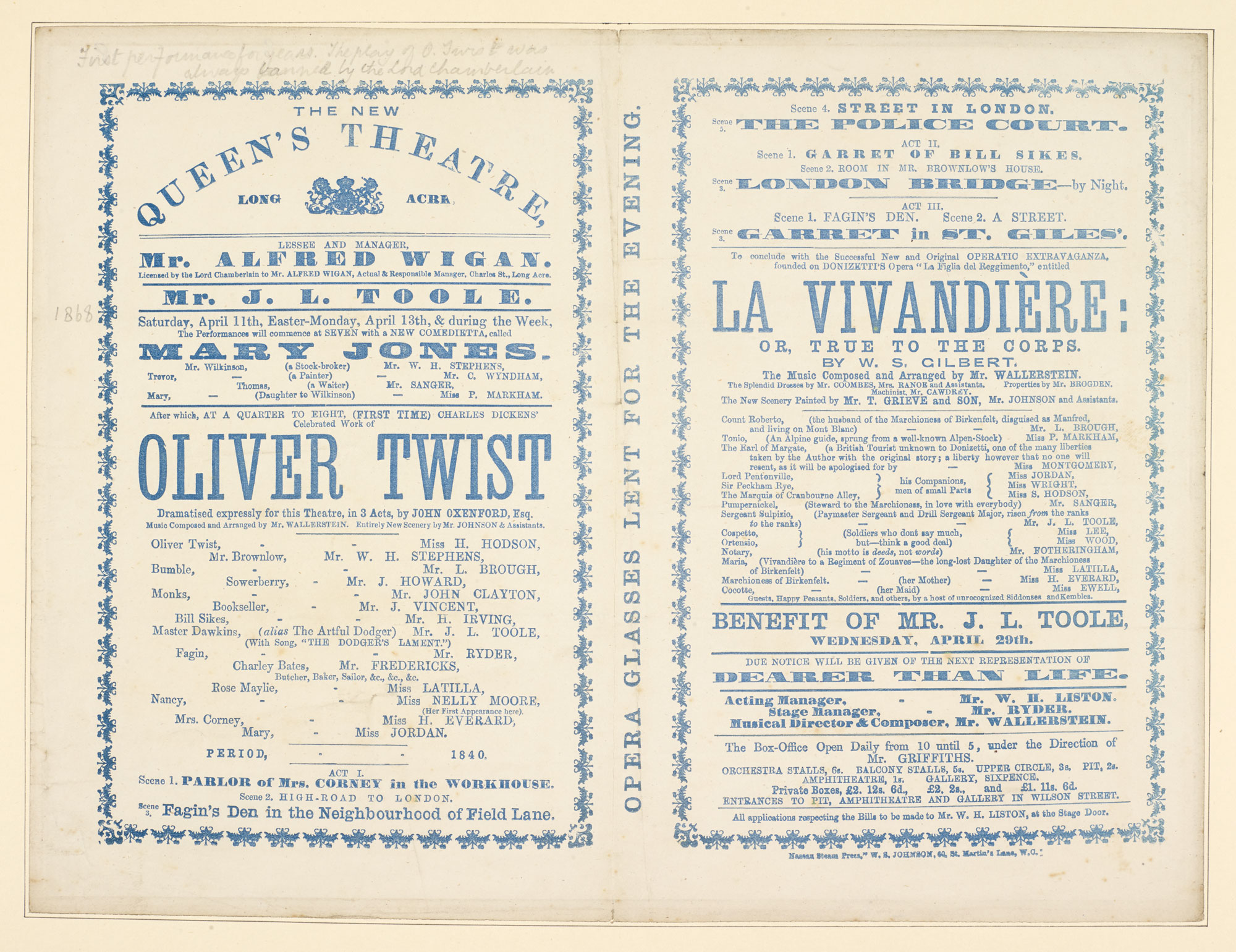 Program for The New Queen's Theatre advertising 'Oliver Twist' [page: 102]