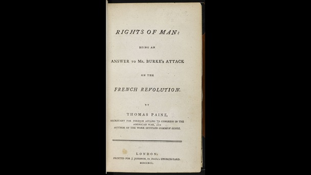 Printed title  page from The Rights of Man by Thomas Paine