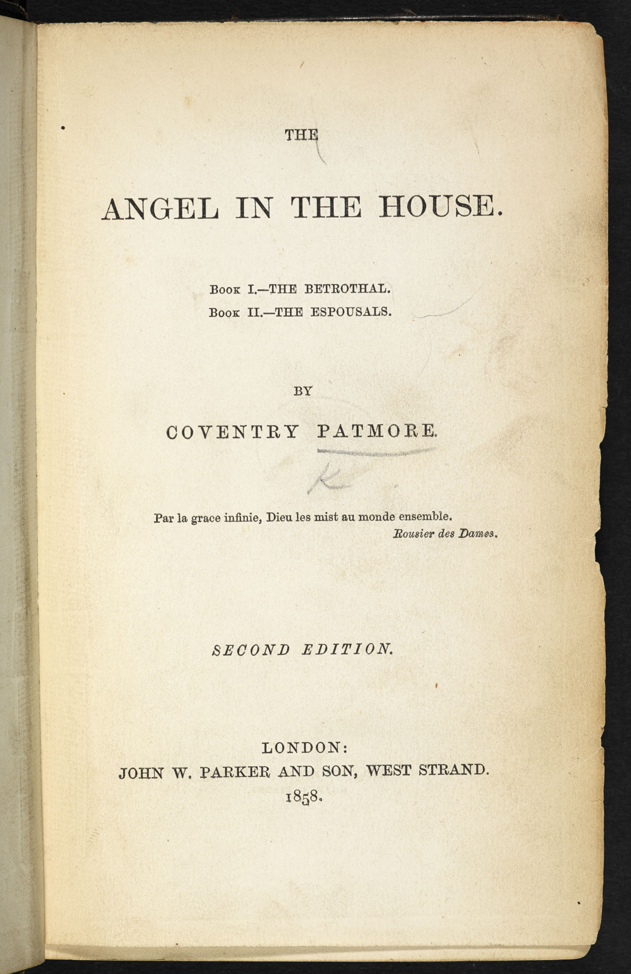 Coventry Patmore's poem, The Angel in the House [page: title page]