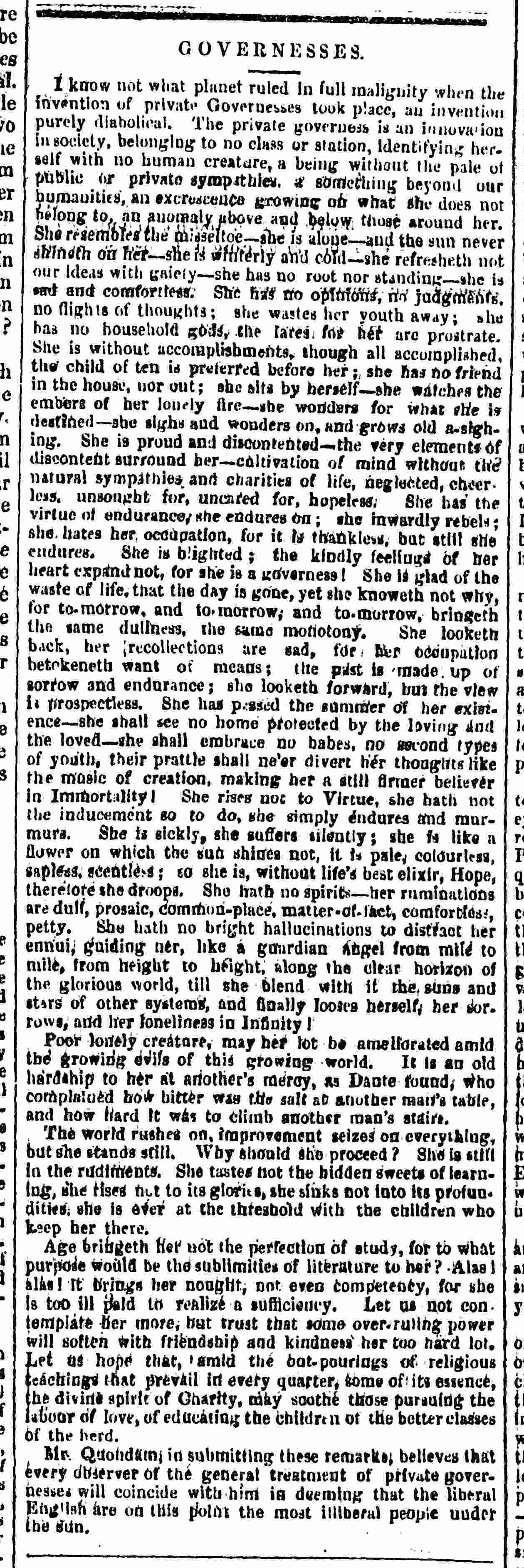 Newspaper article about the private governess from the Penny Satirist [page: 2]
