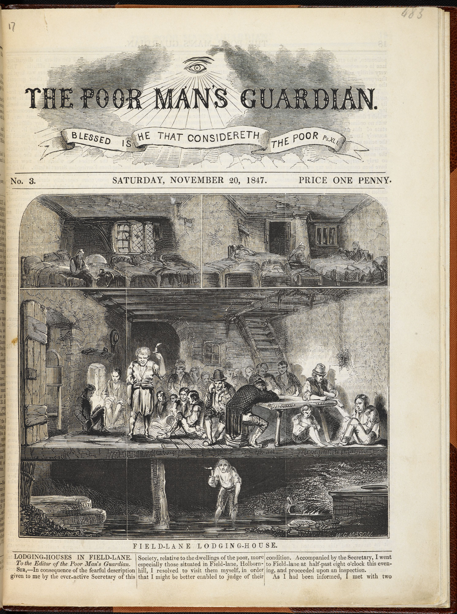 Field Lane Lodging-House' from The Poor Man's Guardian, 20 November 1847 [page: p. [17]]