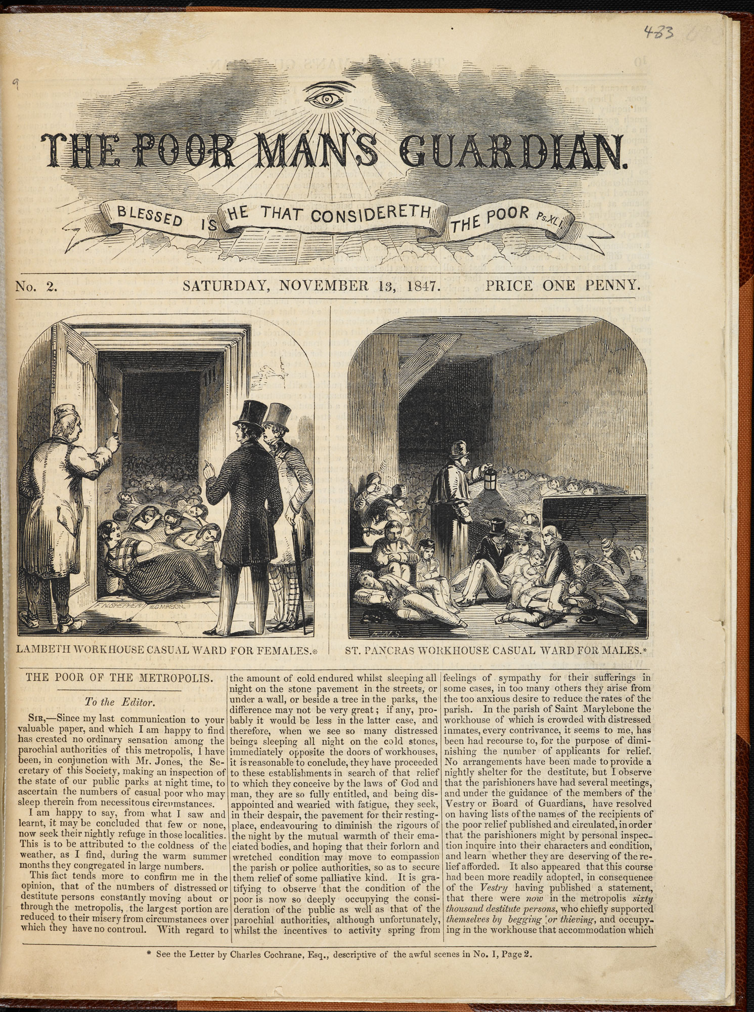 Lambeth Workhouse for Casual Ward for Females' and ' 'St. Panrcas Workhouse Casual Ward for Males' from The Poor Man's Guardian, 13 November 1847 [page: p. [9]]