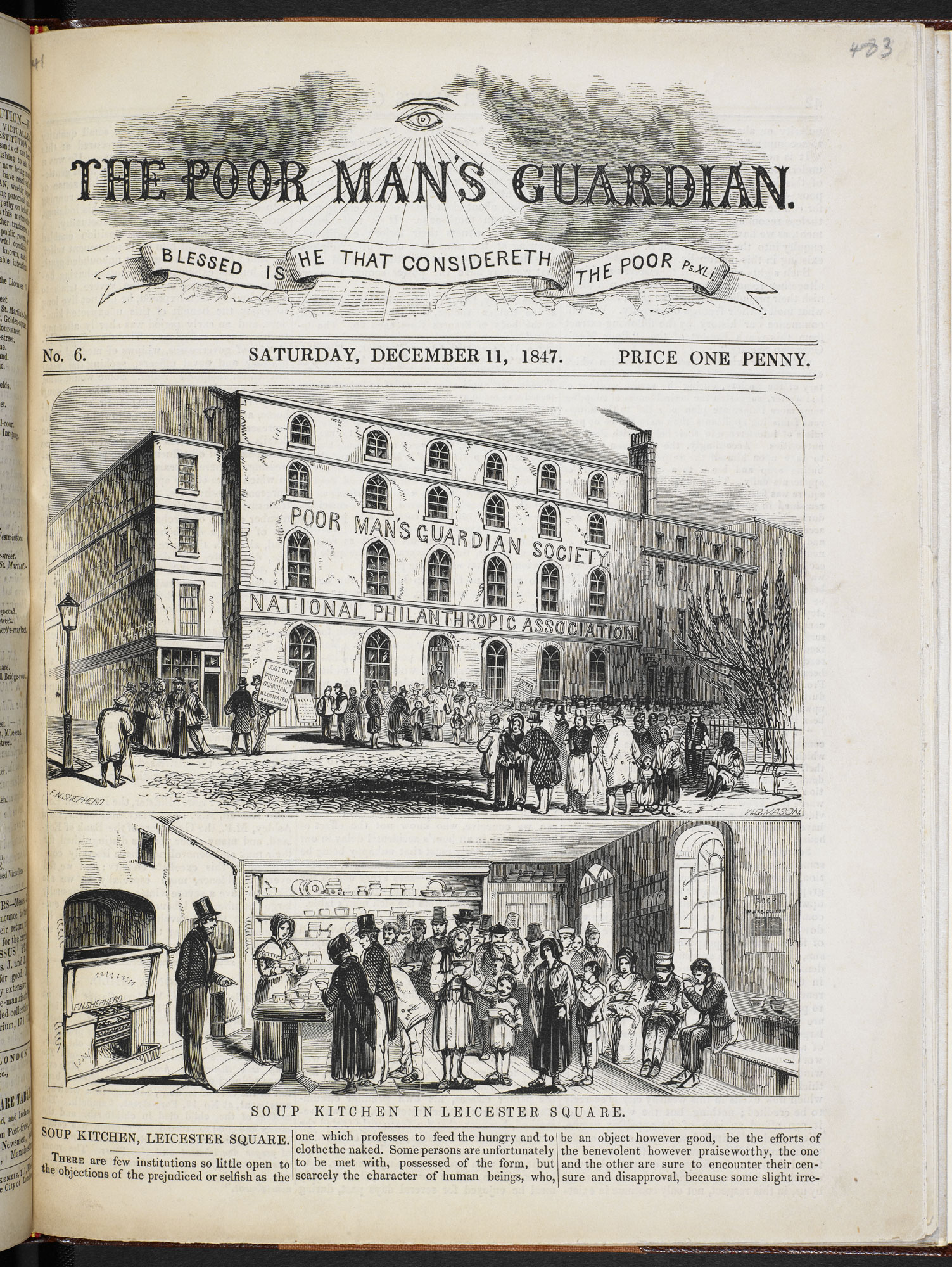'Soup Kitchen in Leicester Square' from The Poor Man's Guardian, 11 December 1847 [page: p. [41]]