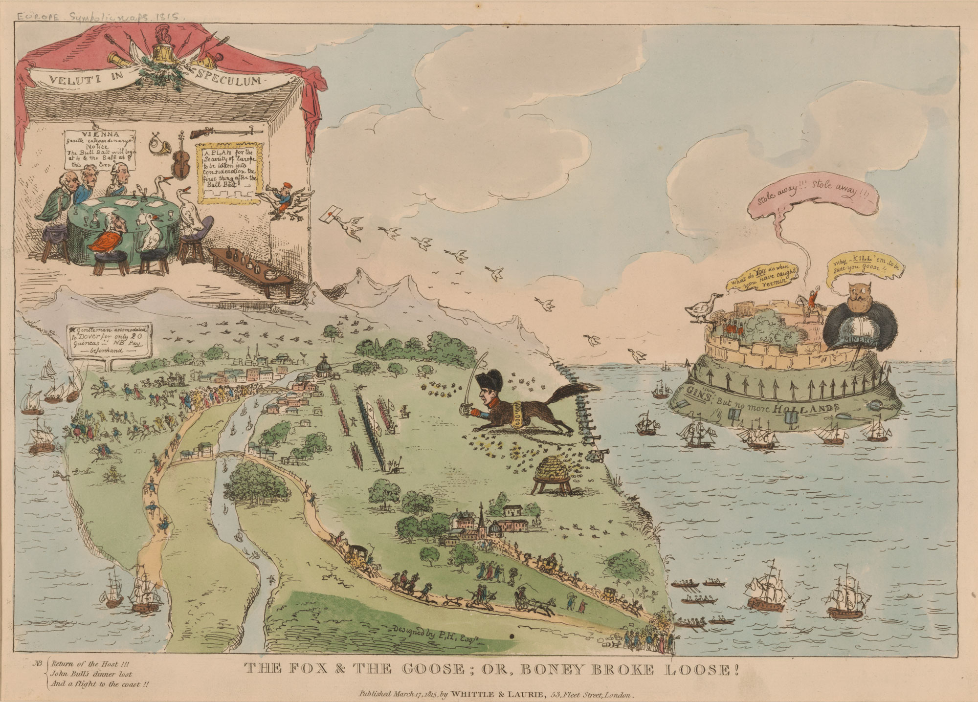 A political cartoon of Napoleon's return from Elba in March 1815 [page: single sheet]