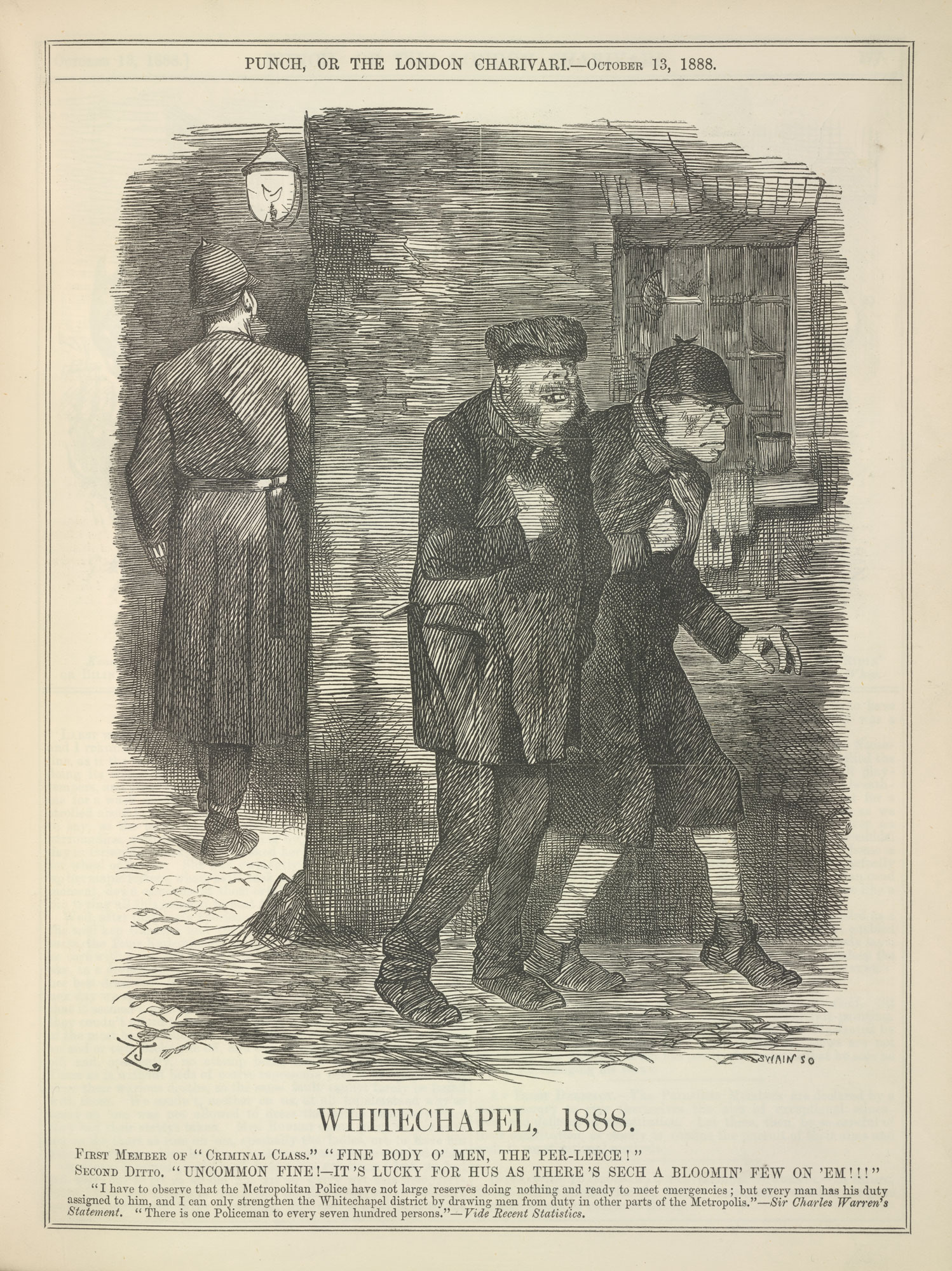 A critical comment on the Metropolitan Police during the time of the 'Jack the Ripper' murders, from Punch [page: 175]