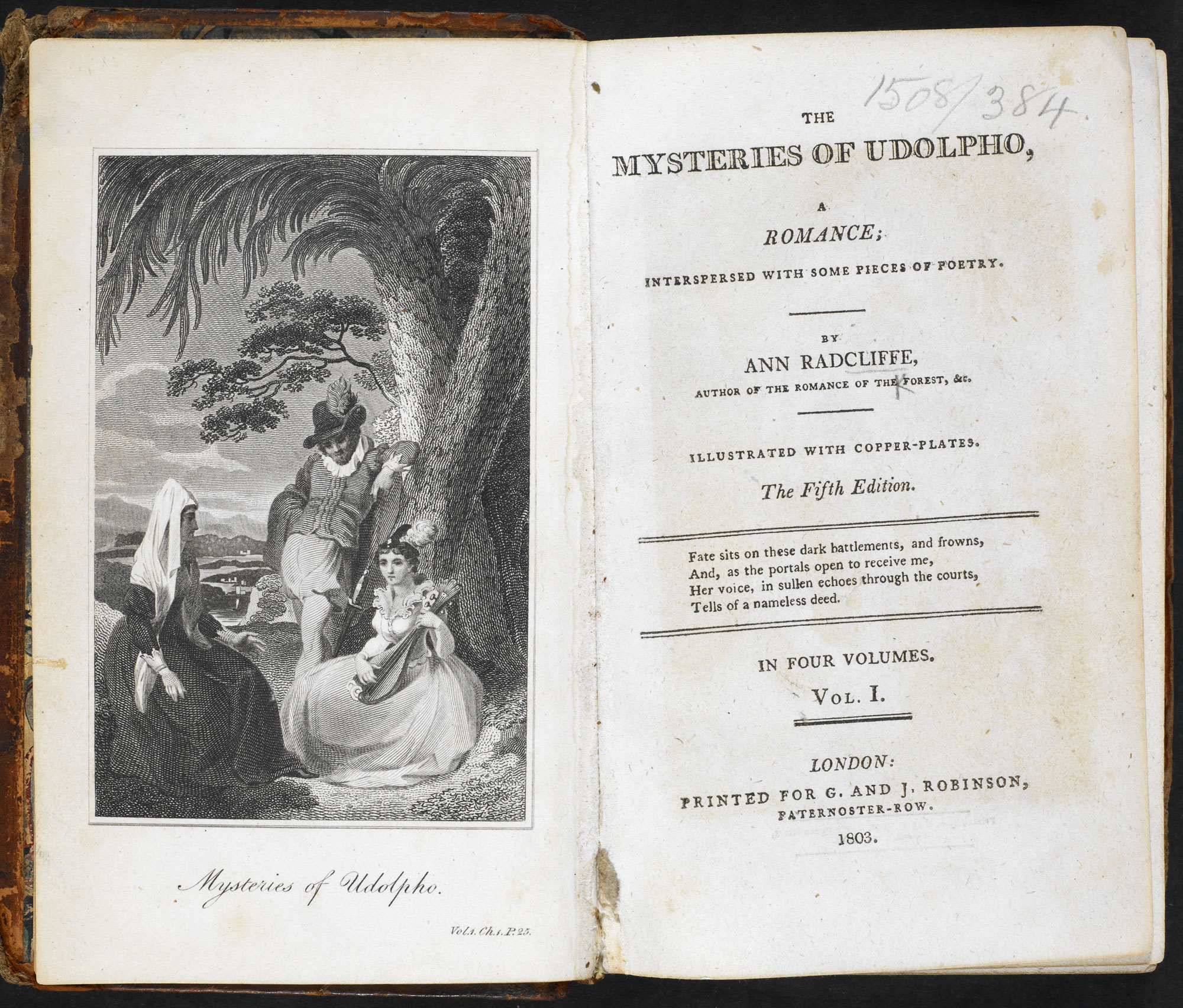 The Mysteries of Udolpho [page: vol. I frontispiece and title page]