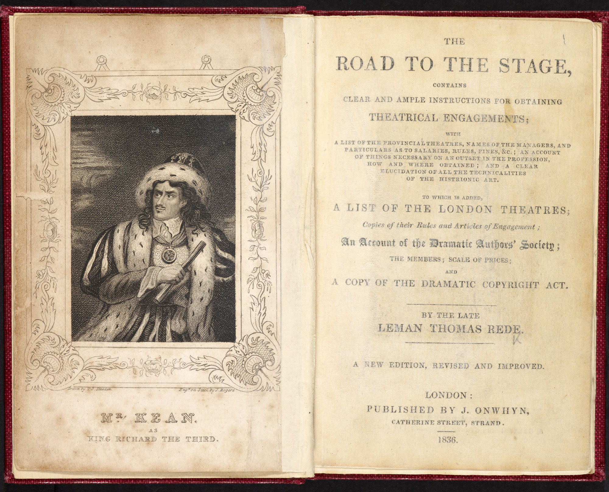 Thomas Leman Rede's The Road to the Stage, a guide for actors [page: frontispiece and title page]
