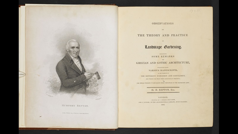 Repton's Observations on the theory and practice of landscape gardening [page: frontispiece and title page]