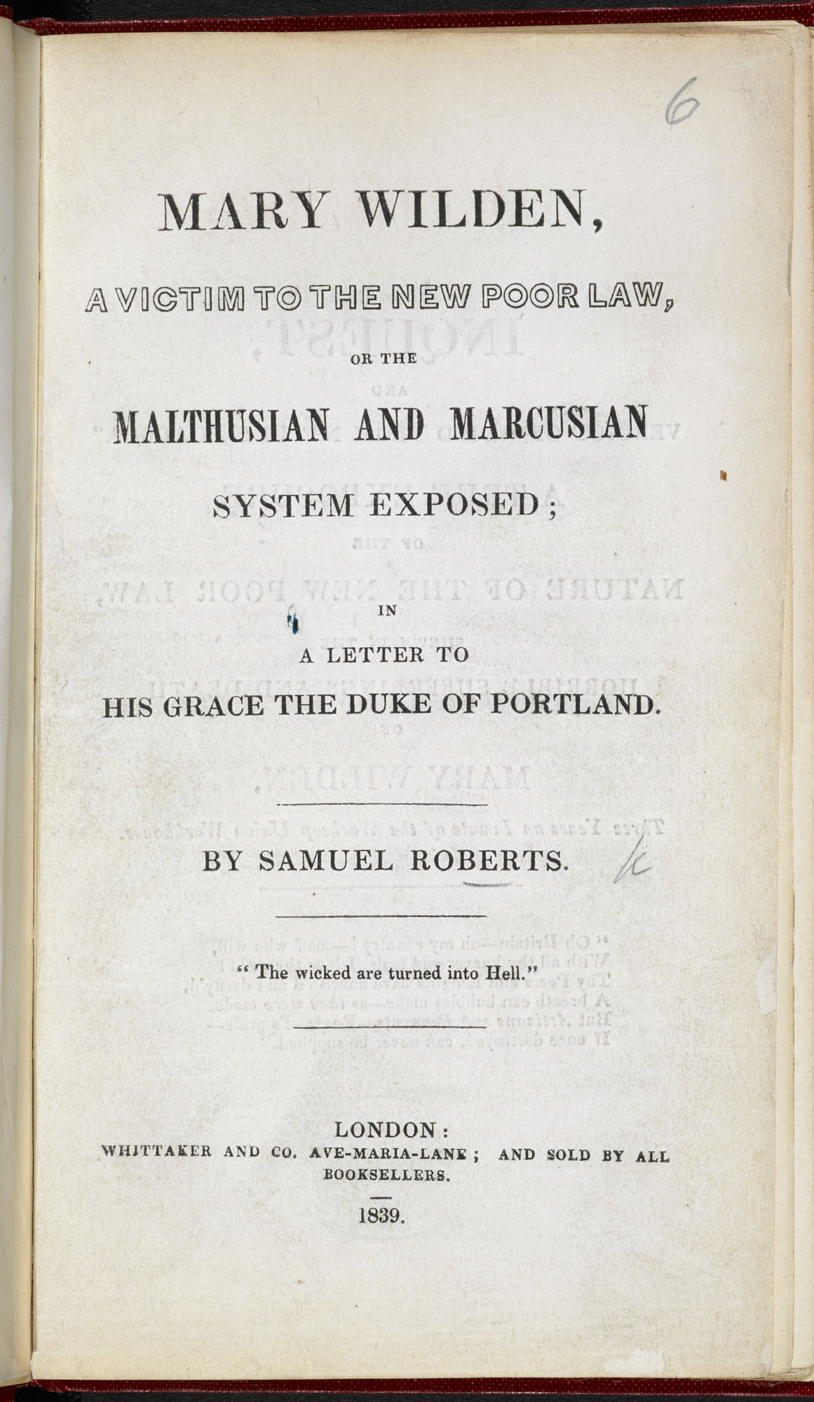 Mary Wilden, a victim to the New Poor Law [page: title page]