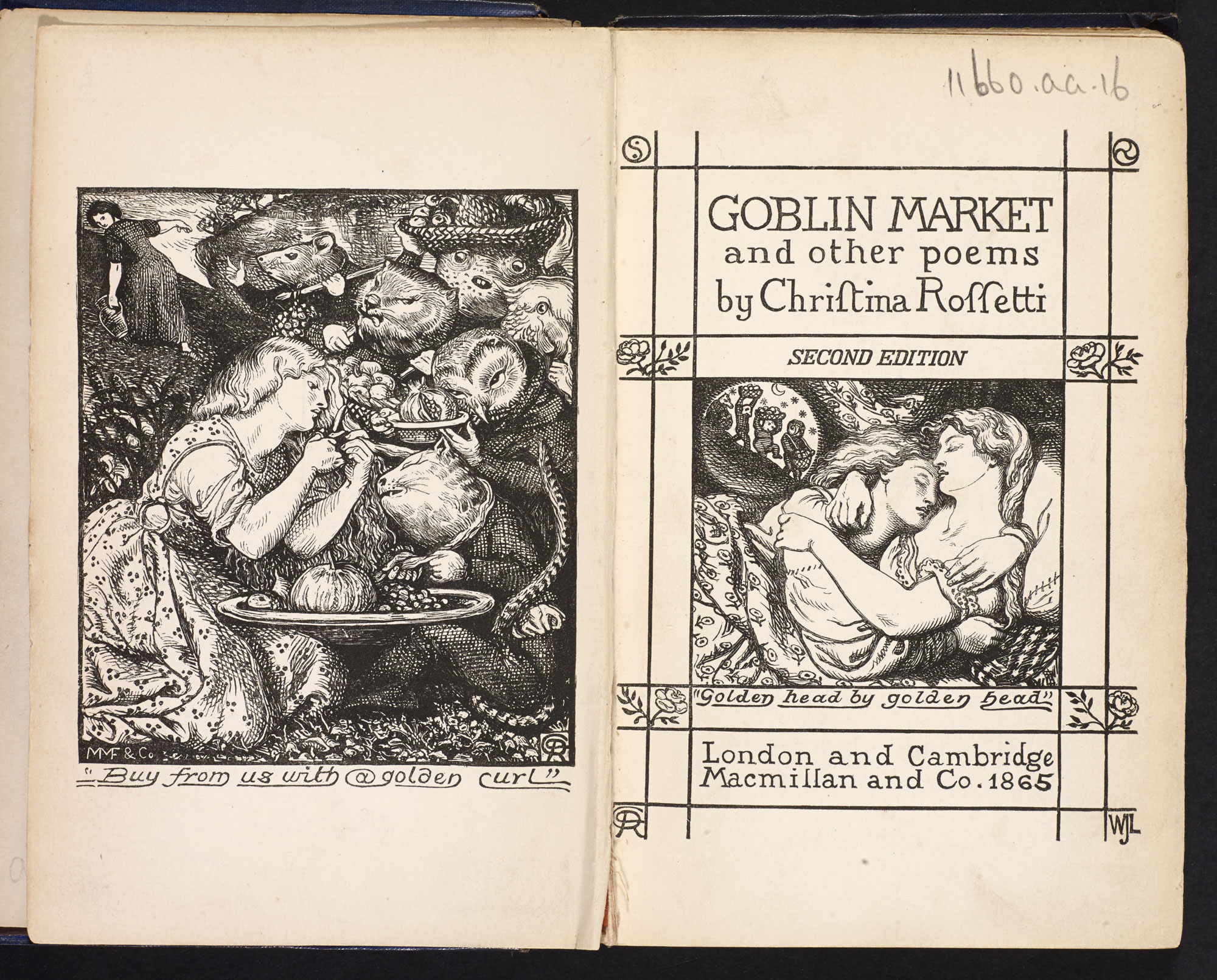 Second edition of Goblin Market by Christina Rossetti, with original covers [page: frontispiece and title page]