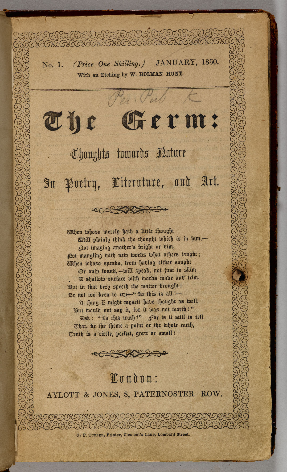 Pre-Raphaelite journal, The Germ [page: title page]