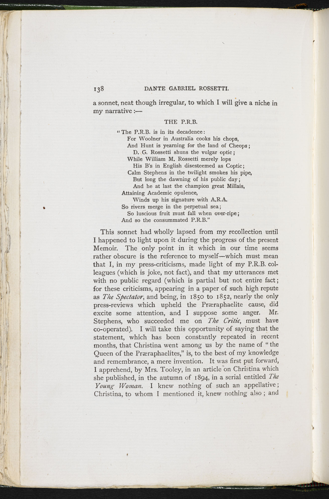 First publication of Christina Rossetti's poem 'The PRB'  [page: 138]