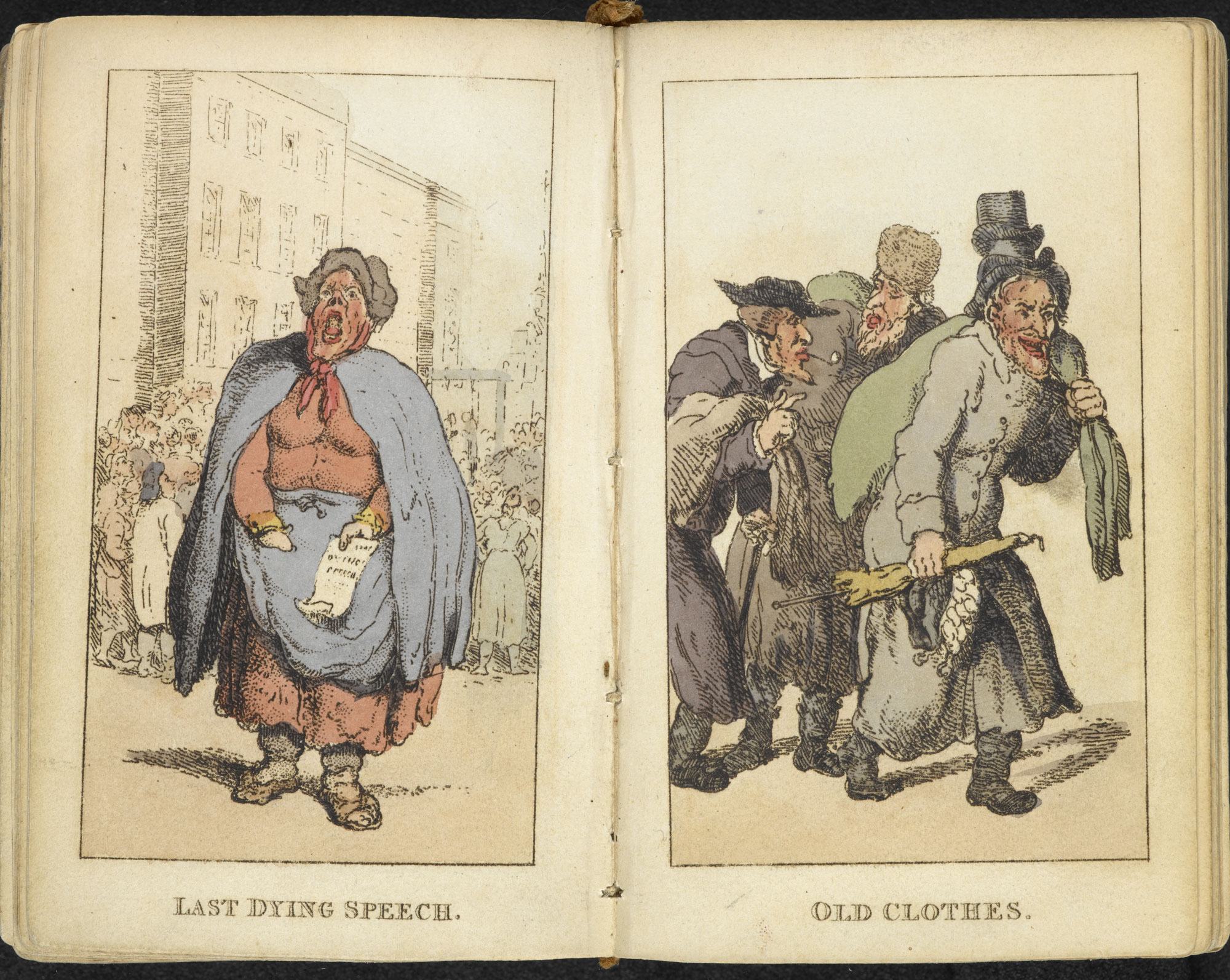 Rowlandson's Characteristic Sketches of the Lower Orders [page: ['Last dying speech'] and ['Old clothes']]