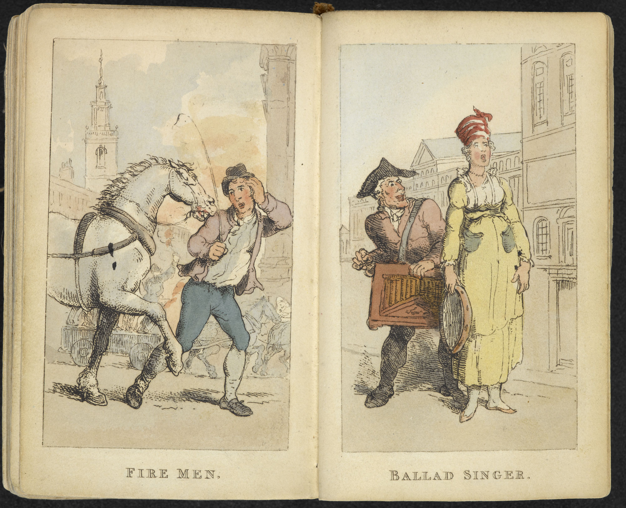 Rowlandson's Characteristic Sketches of the Lower Orders [page: ['Fire men'] and ['Ballad singer']]