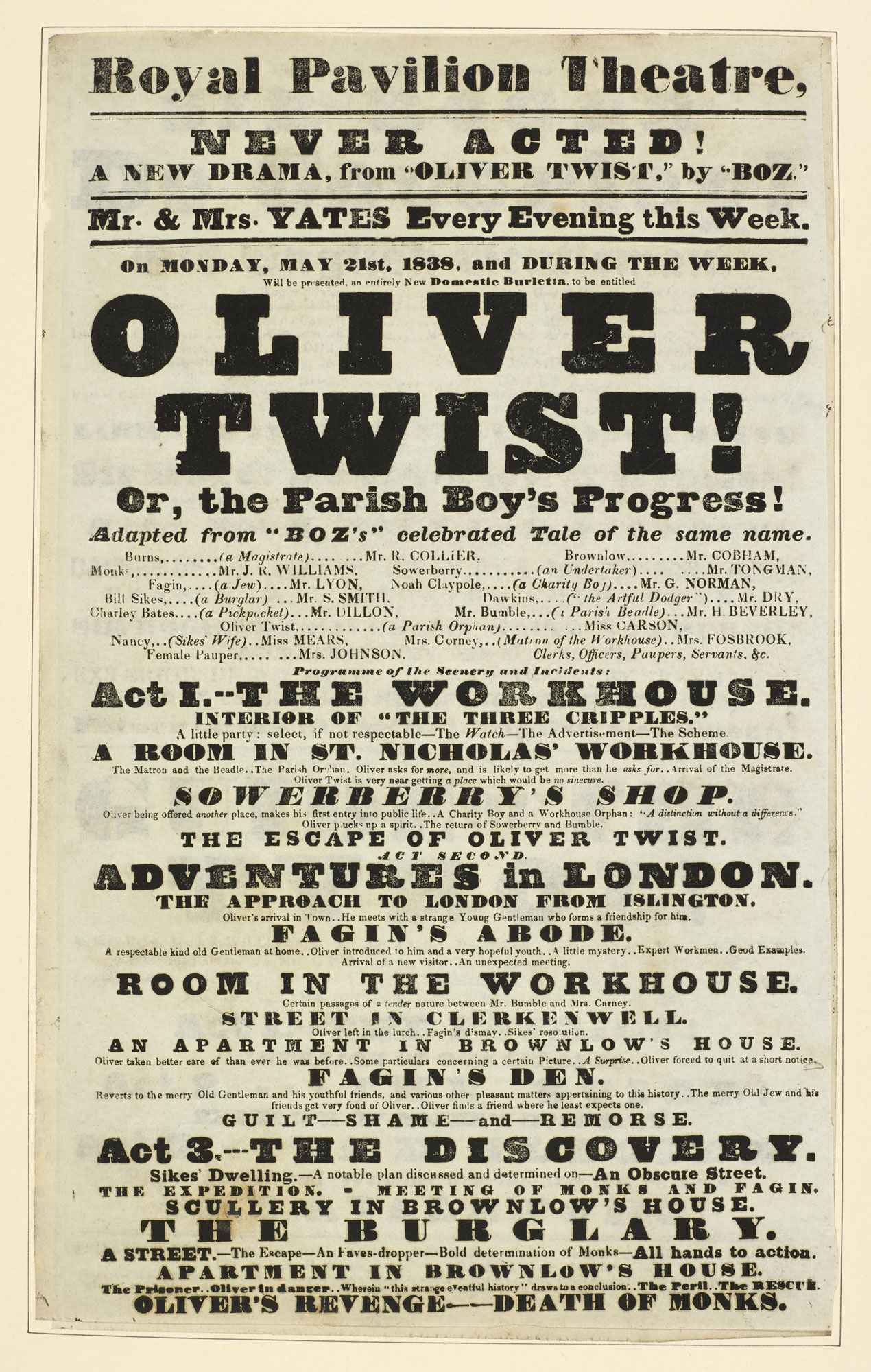 Playbill for The Royal Pavilion Theatre advertising 'Oliver Twist', [page: 100]