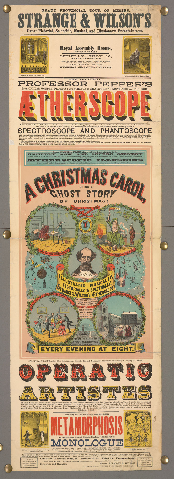 A playbill for the Grand provincial tour of Messrs. Strange & Wilson's great pictorial, scientific, musical, and illusionary entertainment [page: single sheet]