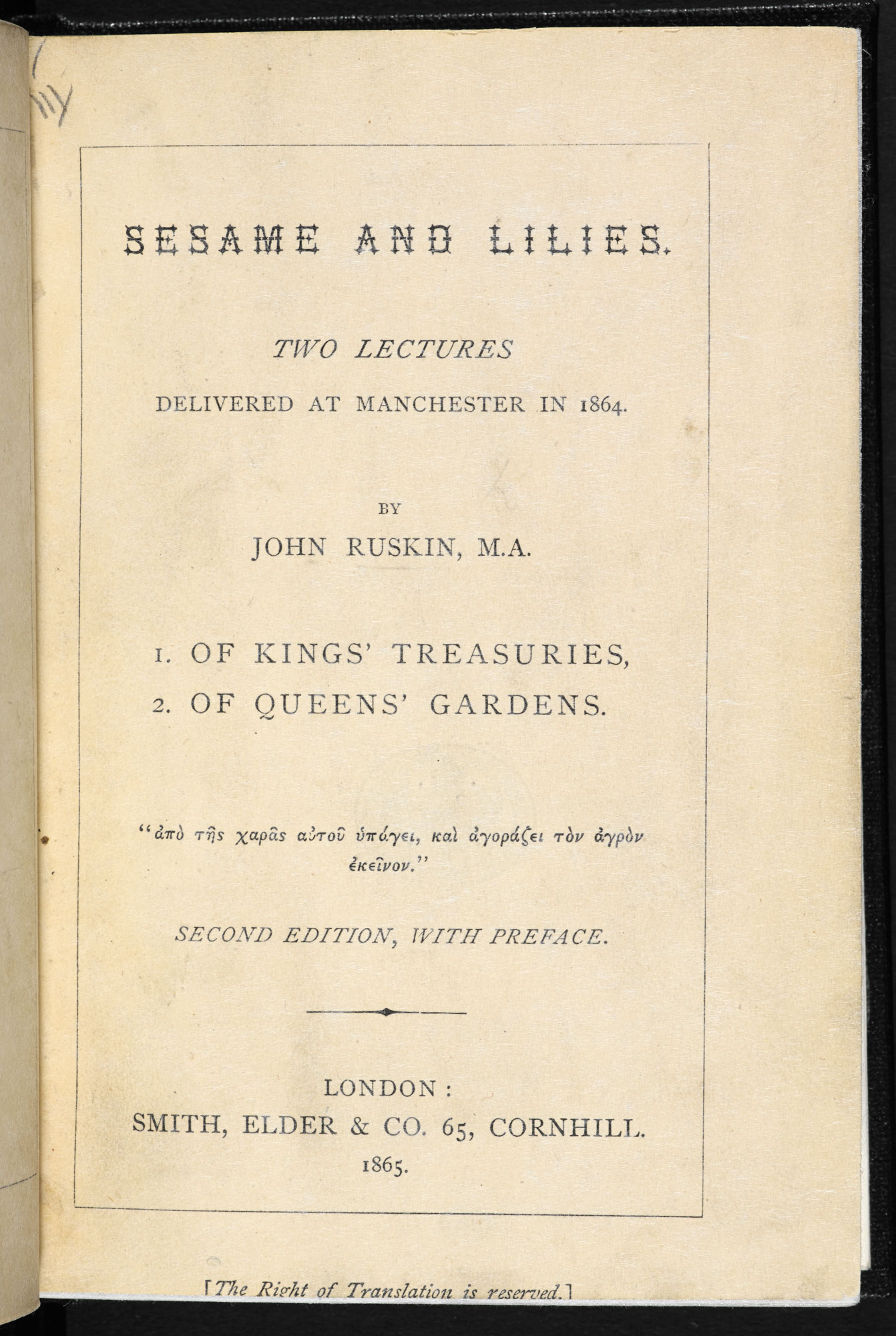 John Ruskin's lecture, 'Of Queen's Gardens' [page: title page]