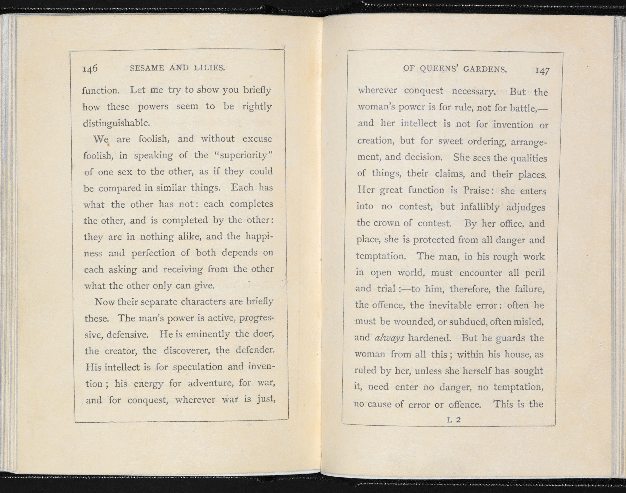 John Ruskin's lecture, 'Of Queen's Gardens' [page: 146-47]