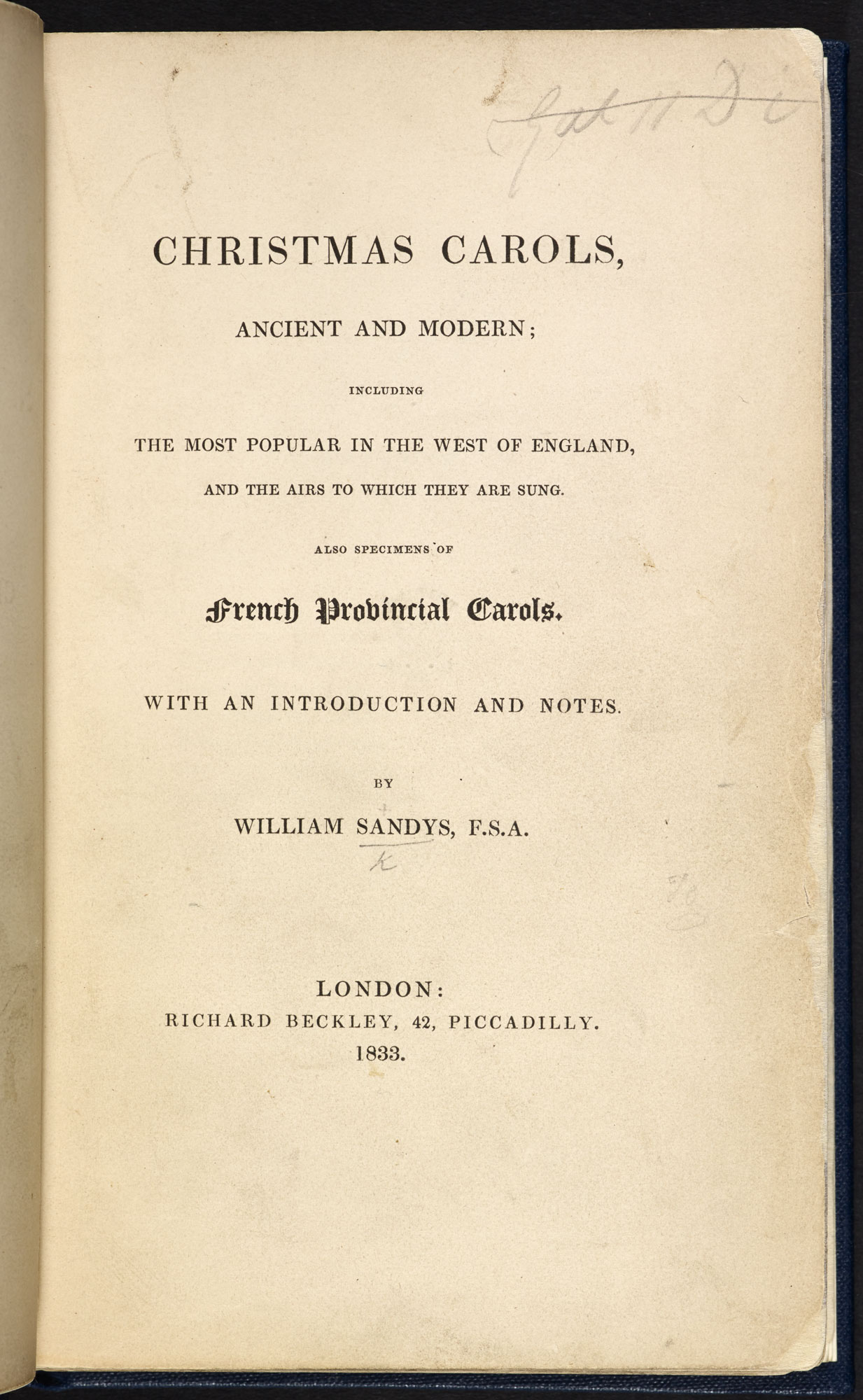 Christmas Carols, Ancient and Modern by William Sandys [page: title page]