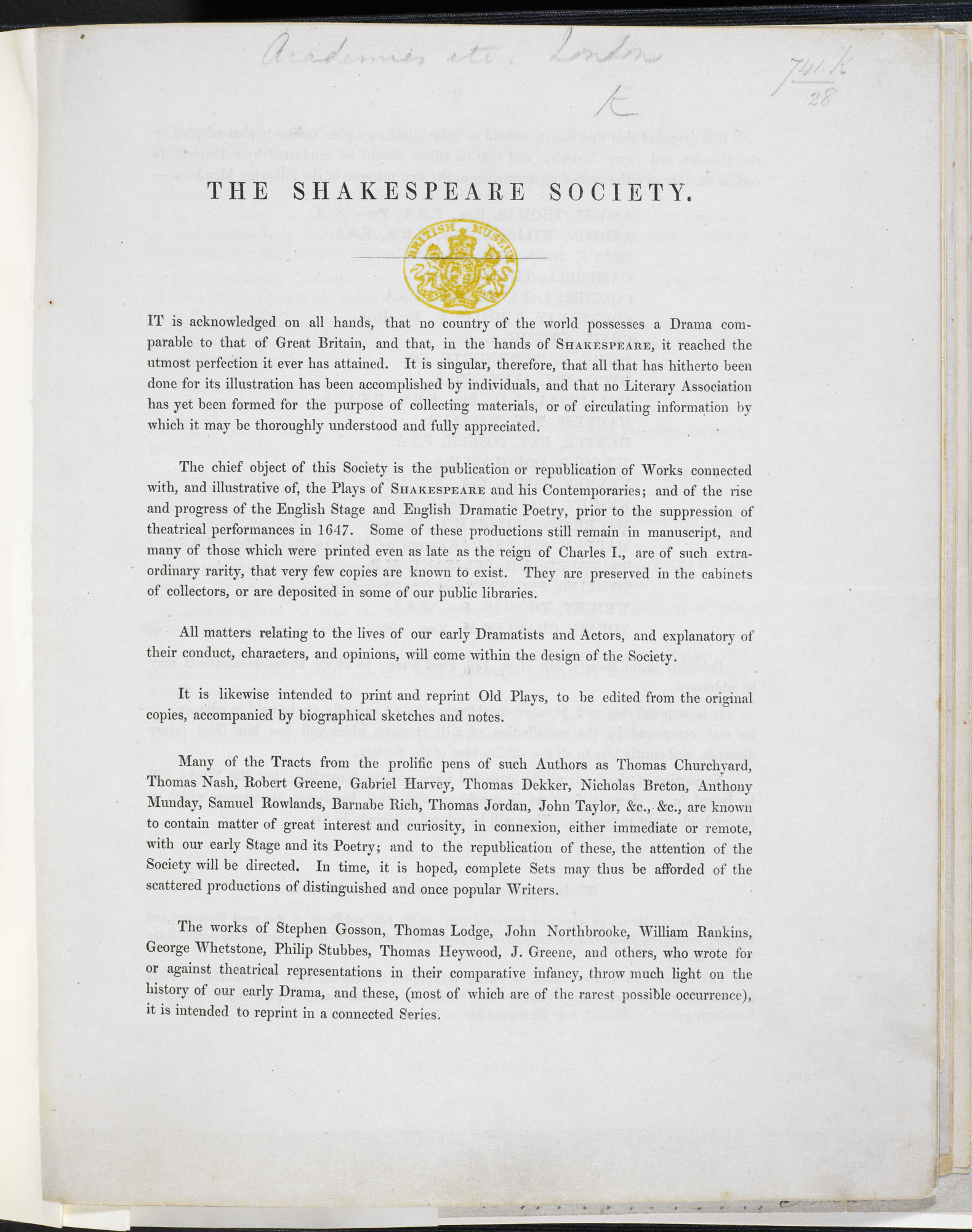 Prospectus for the Shakespeare Society [page: [1]]