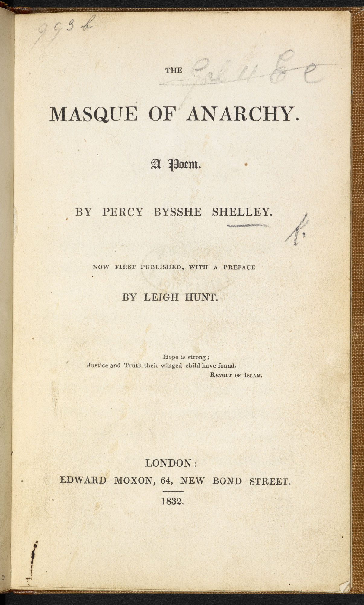 First publication of 'The Masque of Anarchy' by P B Shelley [page: title page]