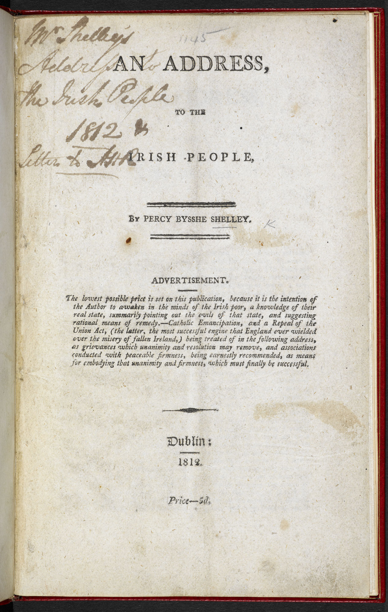 P B Shelley's Address to the Irish People [page: frontispiece]
