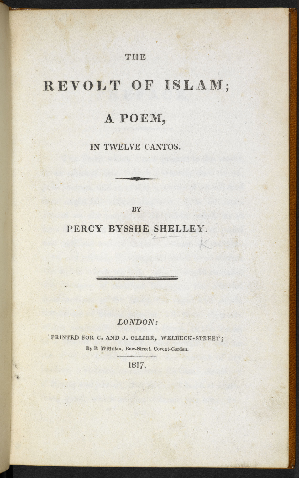 The Revolt of Islam by P B Shelley [page: title page]