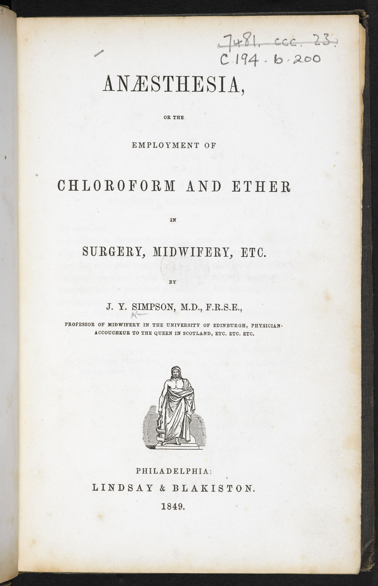 Essays on anaesthesia [page: title page]