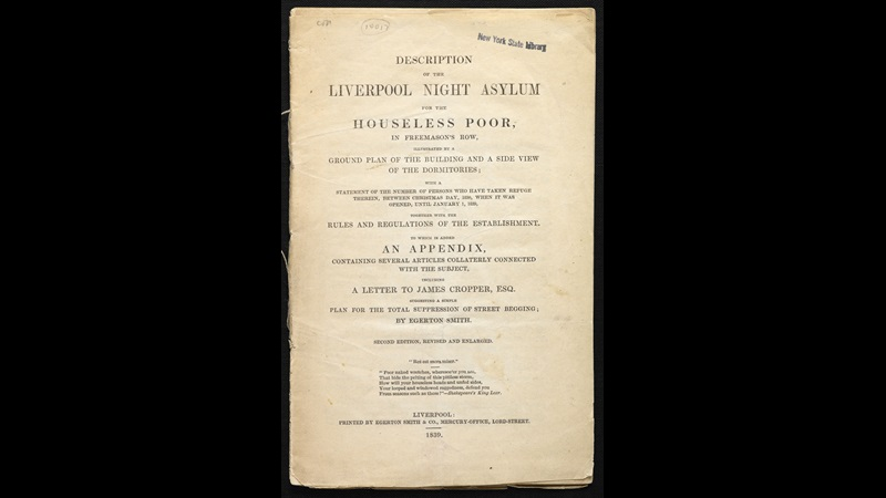 Description of the Liverpool night asylum for the houseless poor [page: front cover]