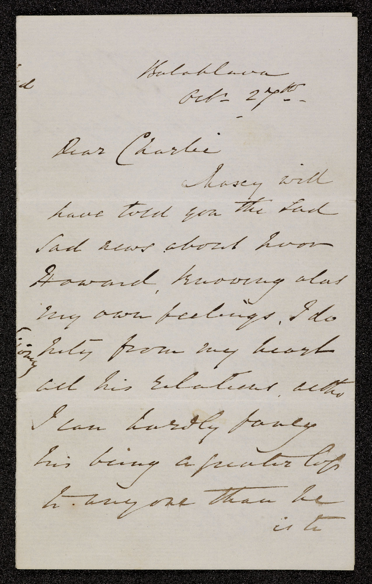 Three letters relating to the Charge of the Light Brigade [folio: 1r]