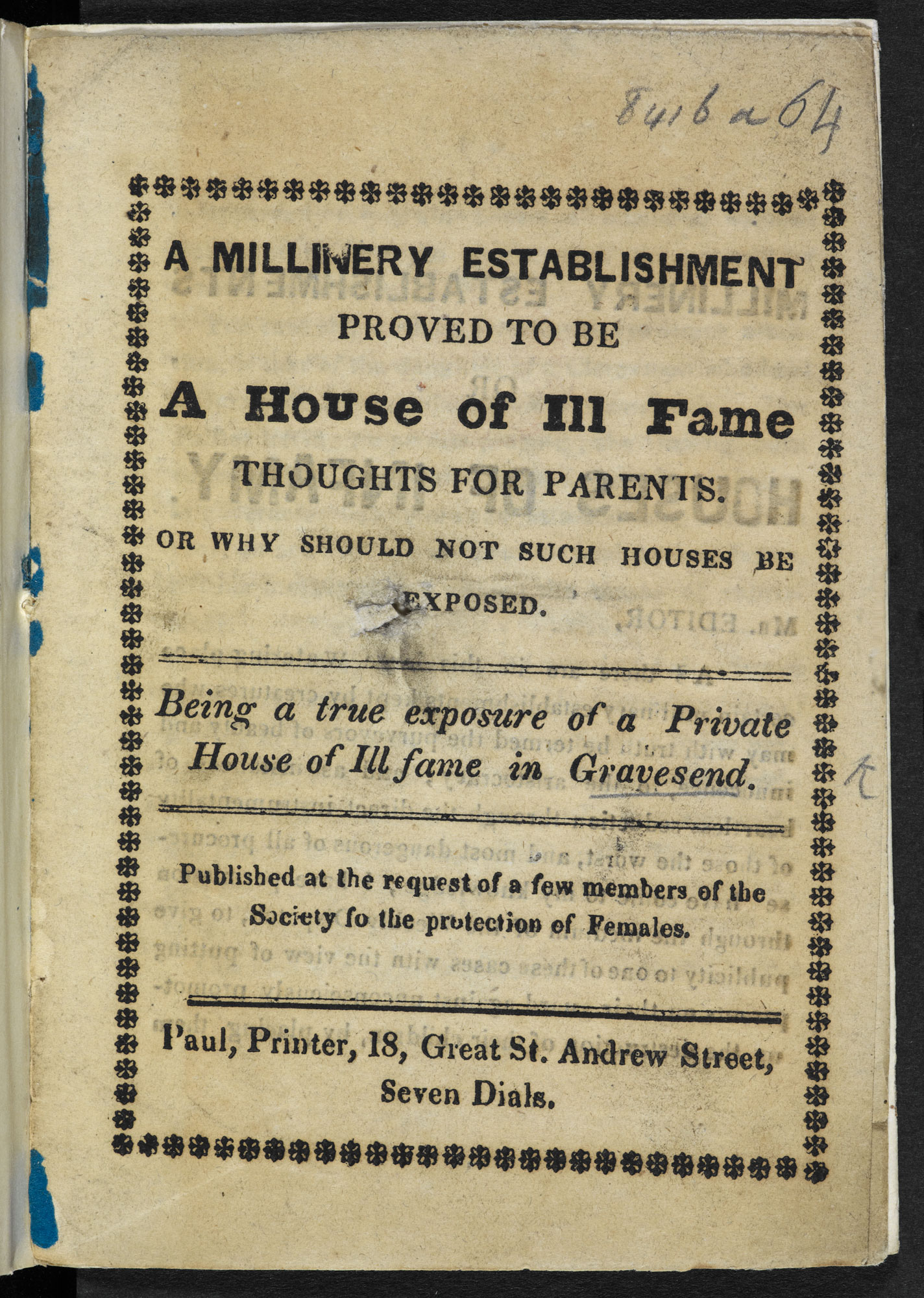 A Millinery Establishment proved to be a House of Ill Fame [page: title page]