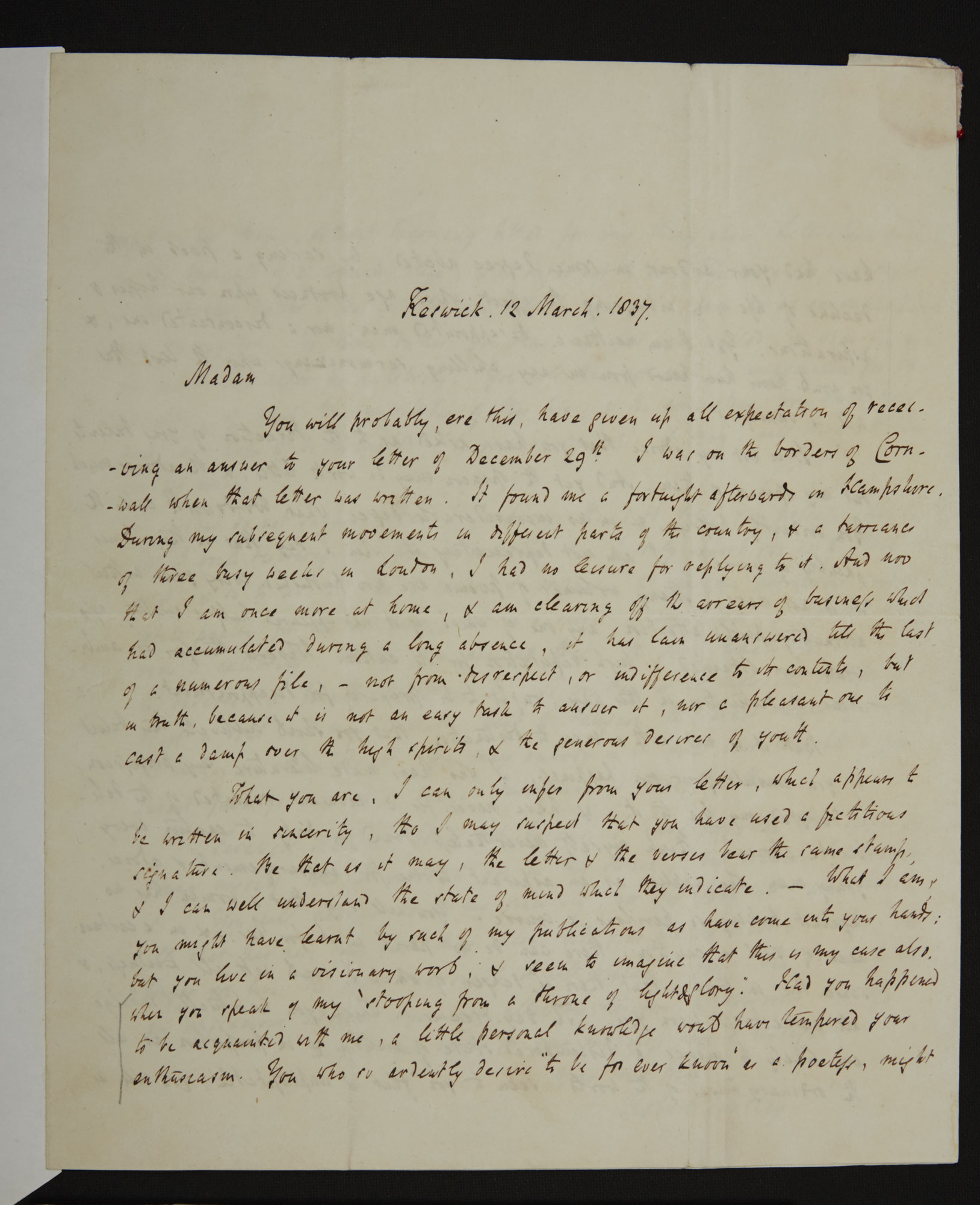 Letter from Robert Southey to Charlotte Bronte, 12 March 1837 - The