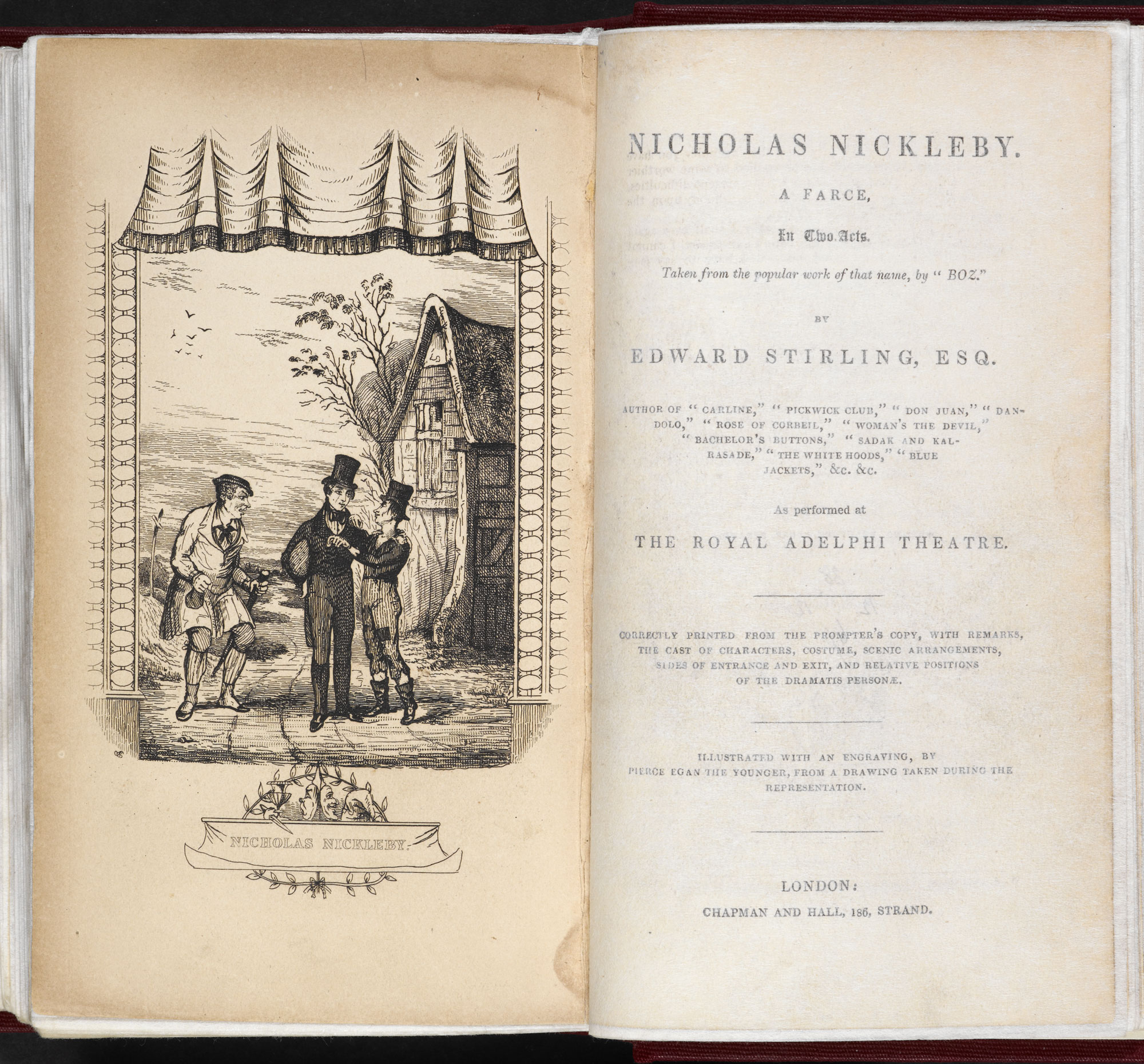 Edward Stirling's play adaptation of Nicholas Nickleby [page: frontispiece and title page]