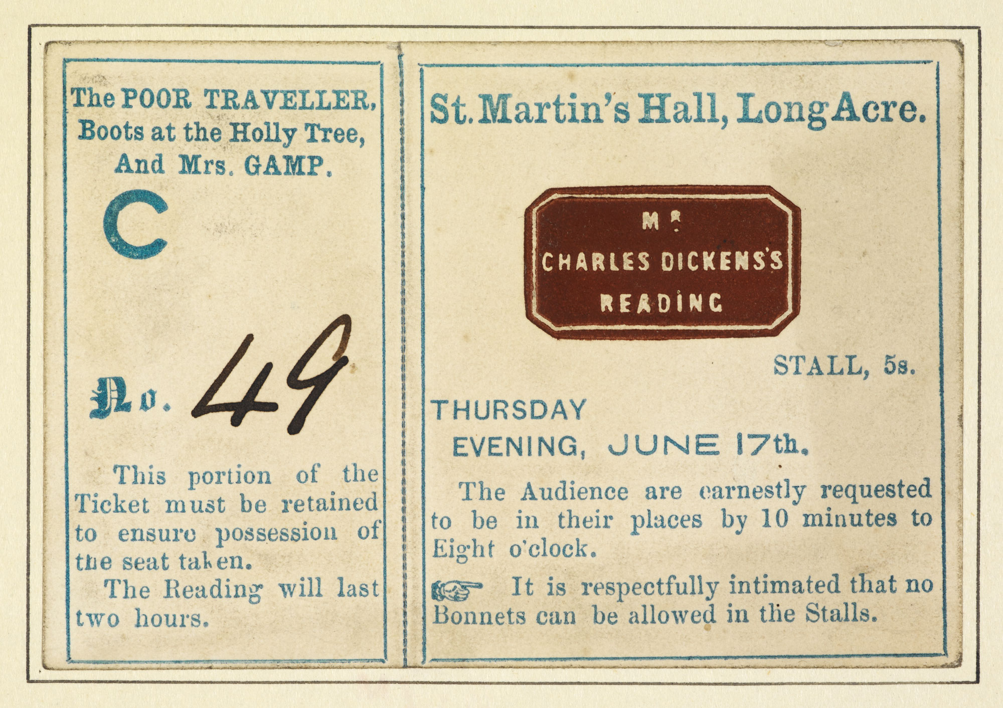 Original ticket for a reading by Charles Dickens [page: 147]