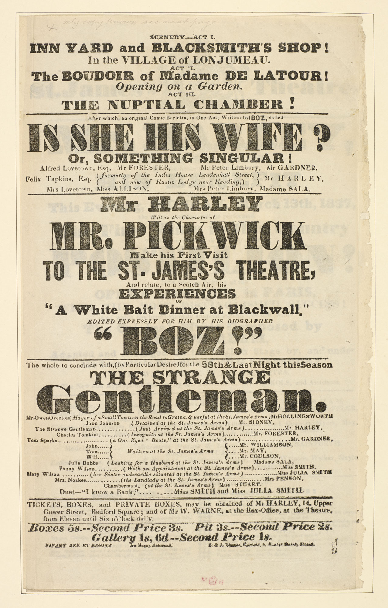 Two playbills for St James's Theatre, advertising 'Mr Pickwick' [page: 11]