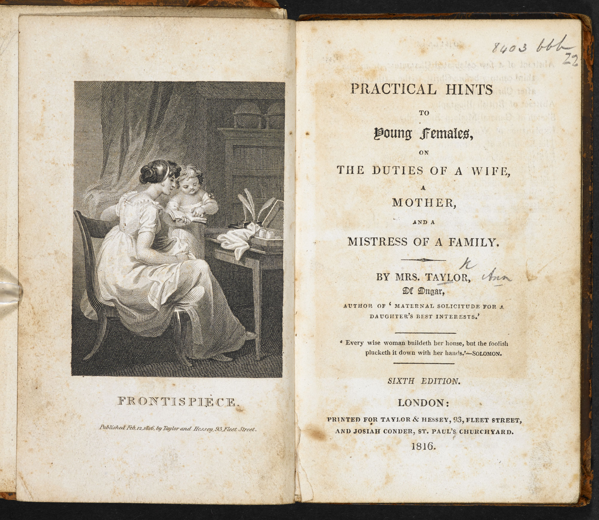 Practical hints to young females [page: frontispiece and title page]