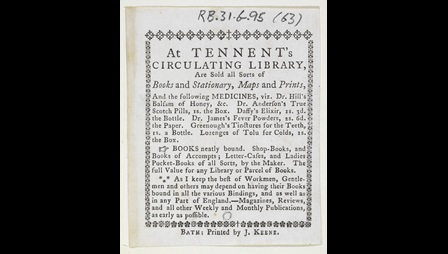 Advertisement for Tennent's Circulating Library [page: single sheet]