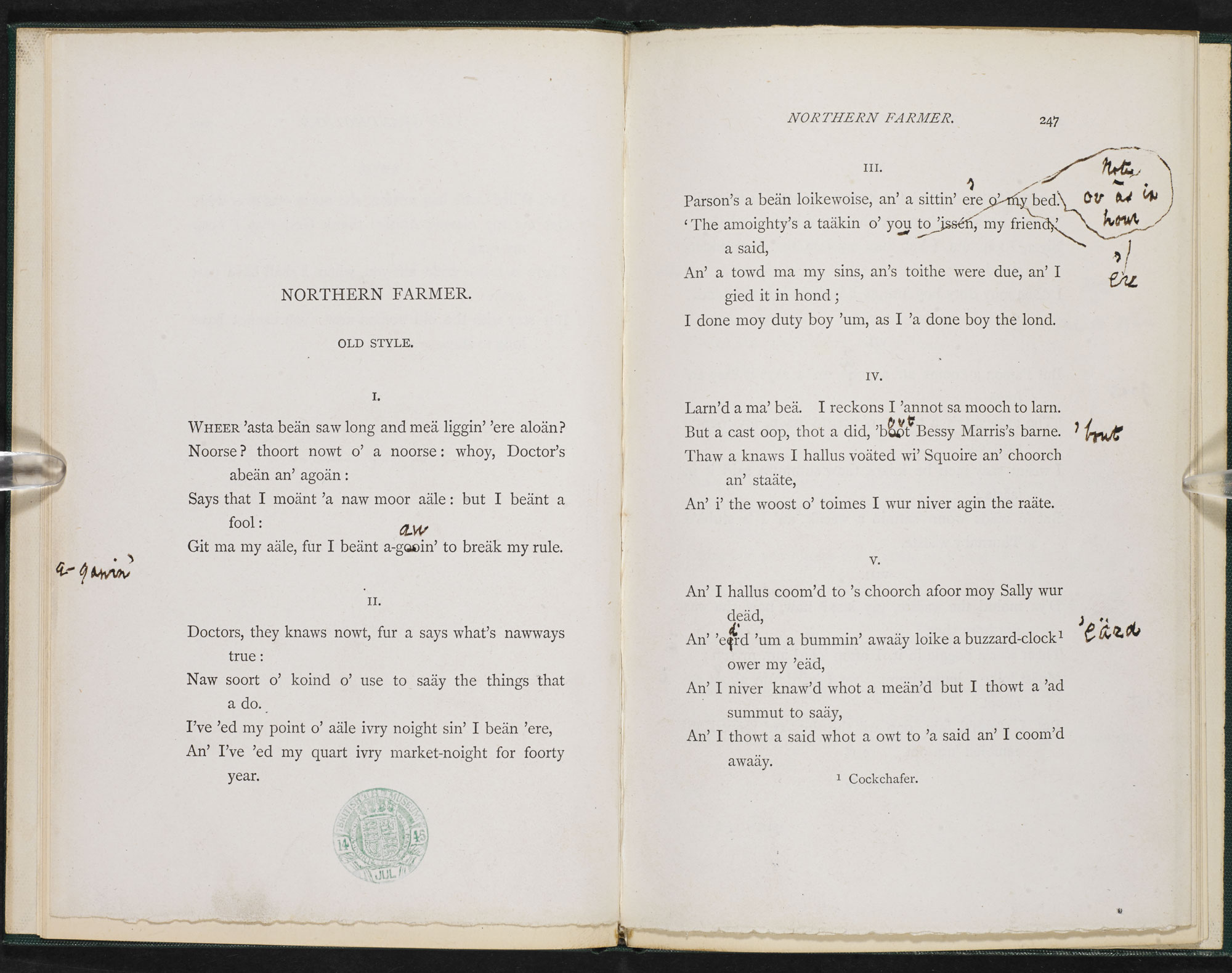 Alfred Lord Tennyson's 'The Northern Farmer' with manuscript revisions
