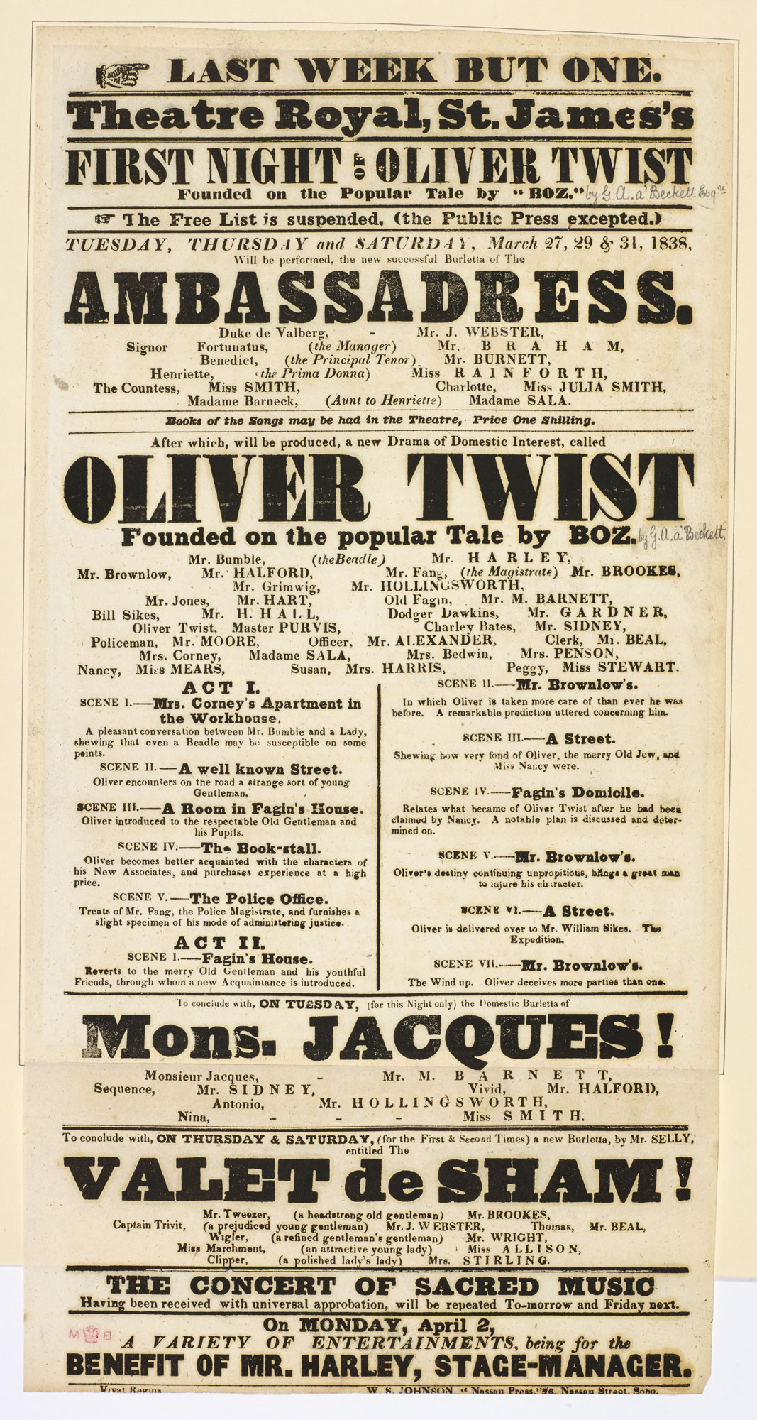 Playbill for the The Theatre Royal St. James's advertising the first night of 'Oliver Twist' [page: 101]