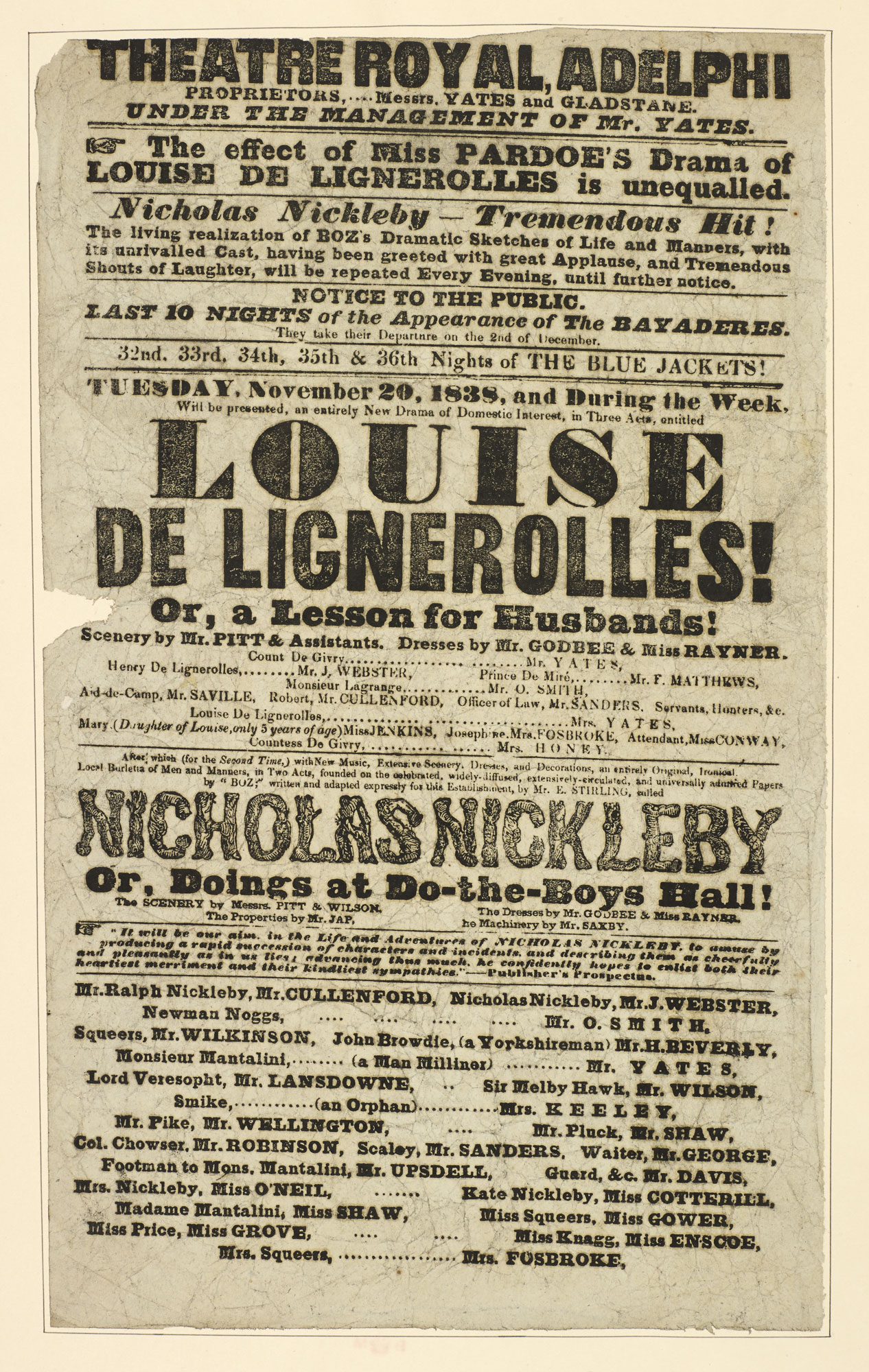 Playbill for The Theatre Royal, Adelphi advertising 'Nicholas Nickleby', 1838 [page: 127]