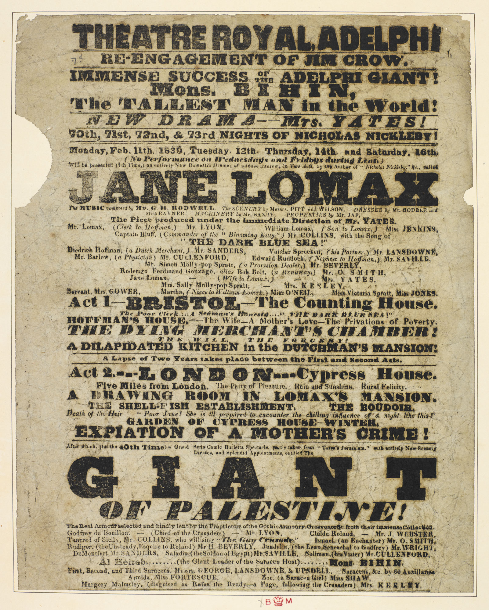 Playbill for The Theatre Royal, Adelphi advertising 'Nicholas Nickleby', 1839 [page: 128]