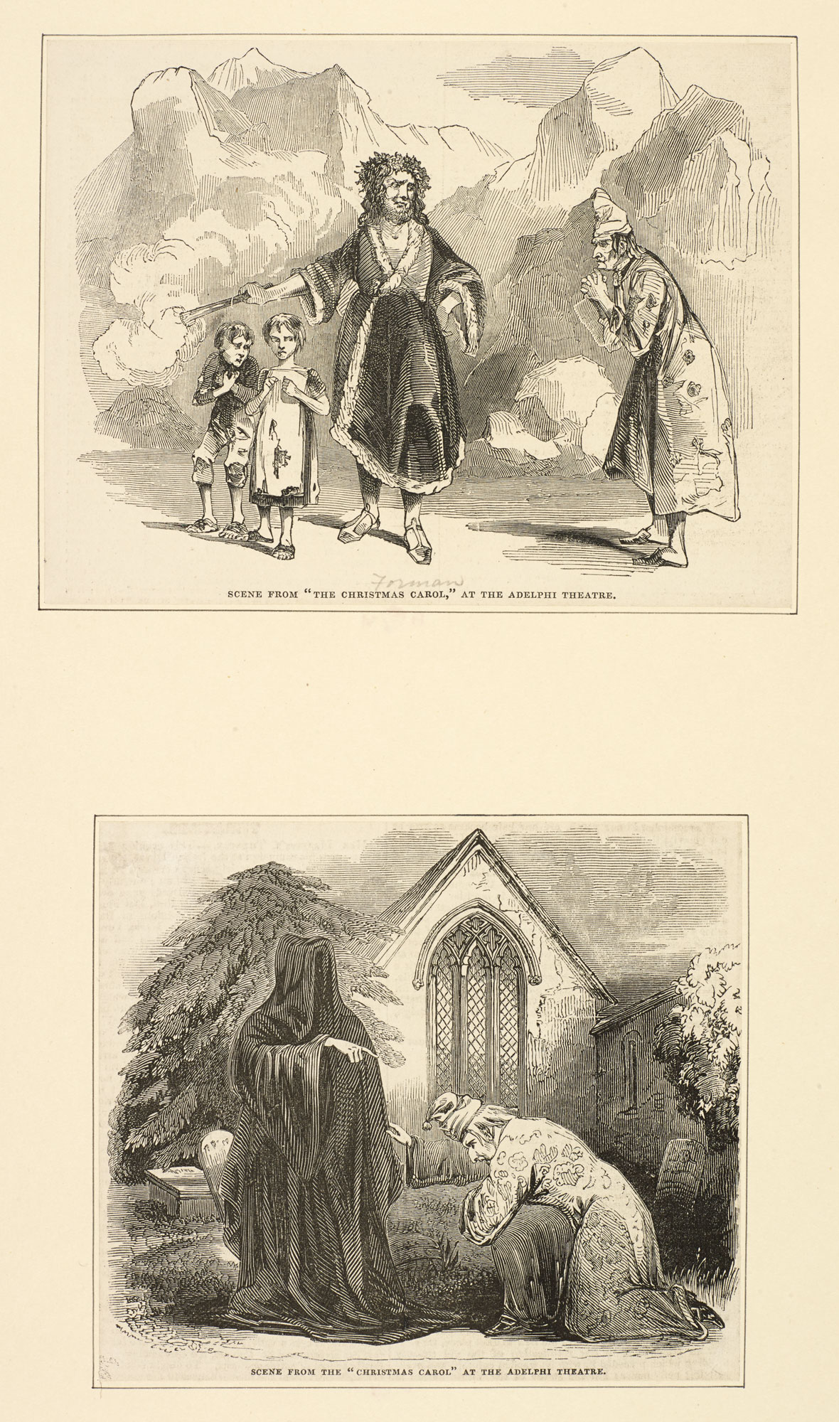 Two engraved scenes from 'A Christmas Carol' at the Adelphi Theatre [page: 121]