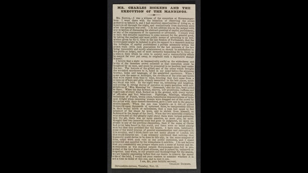 Mr Charles Dickens and the execution of the Mannings', reprinted from The Times [page: 0]
