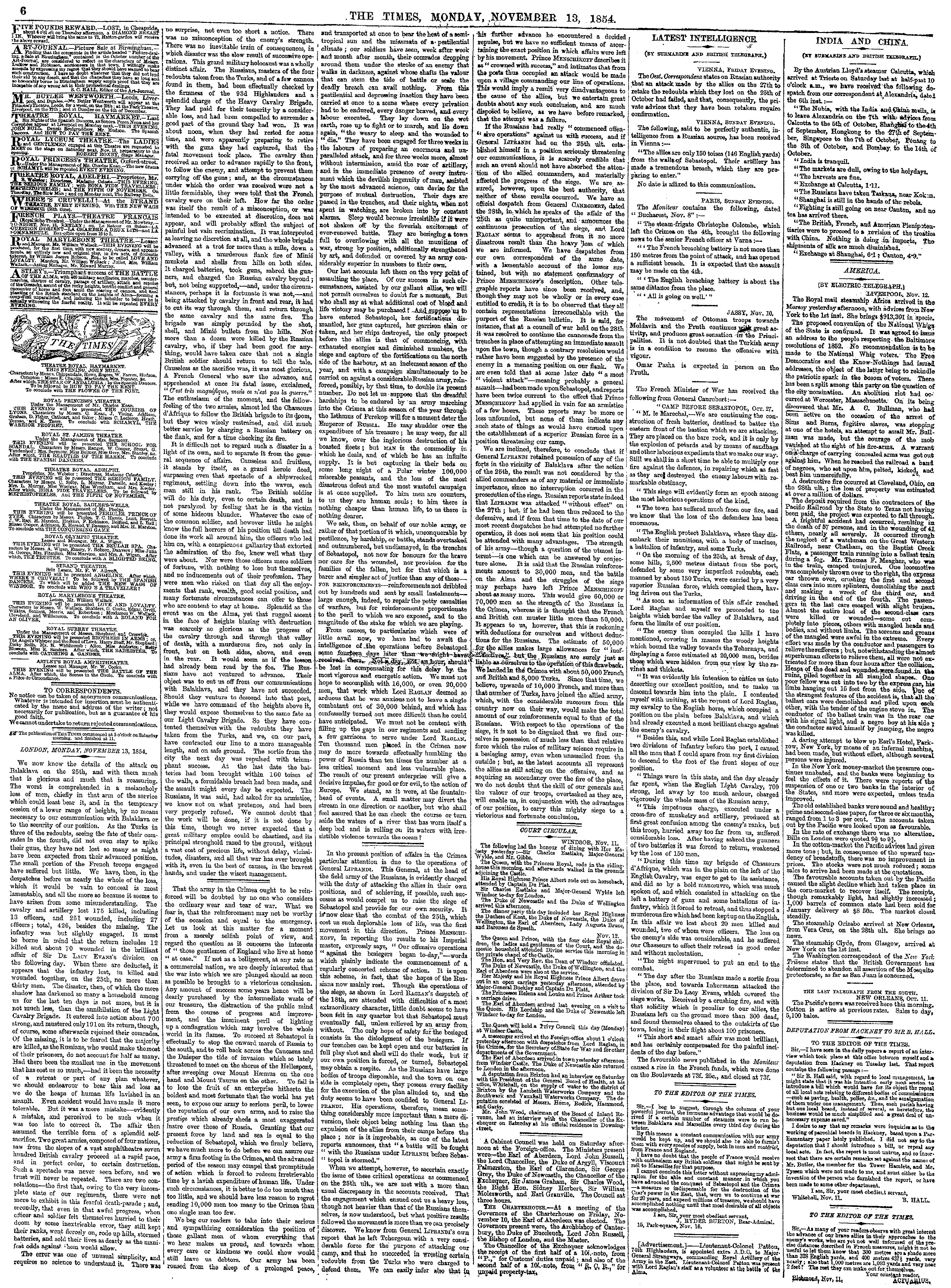 Times editorial piece on the Charge of the Light Brigade [page: 6]