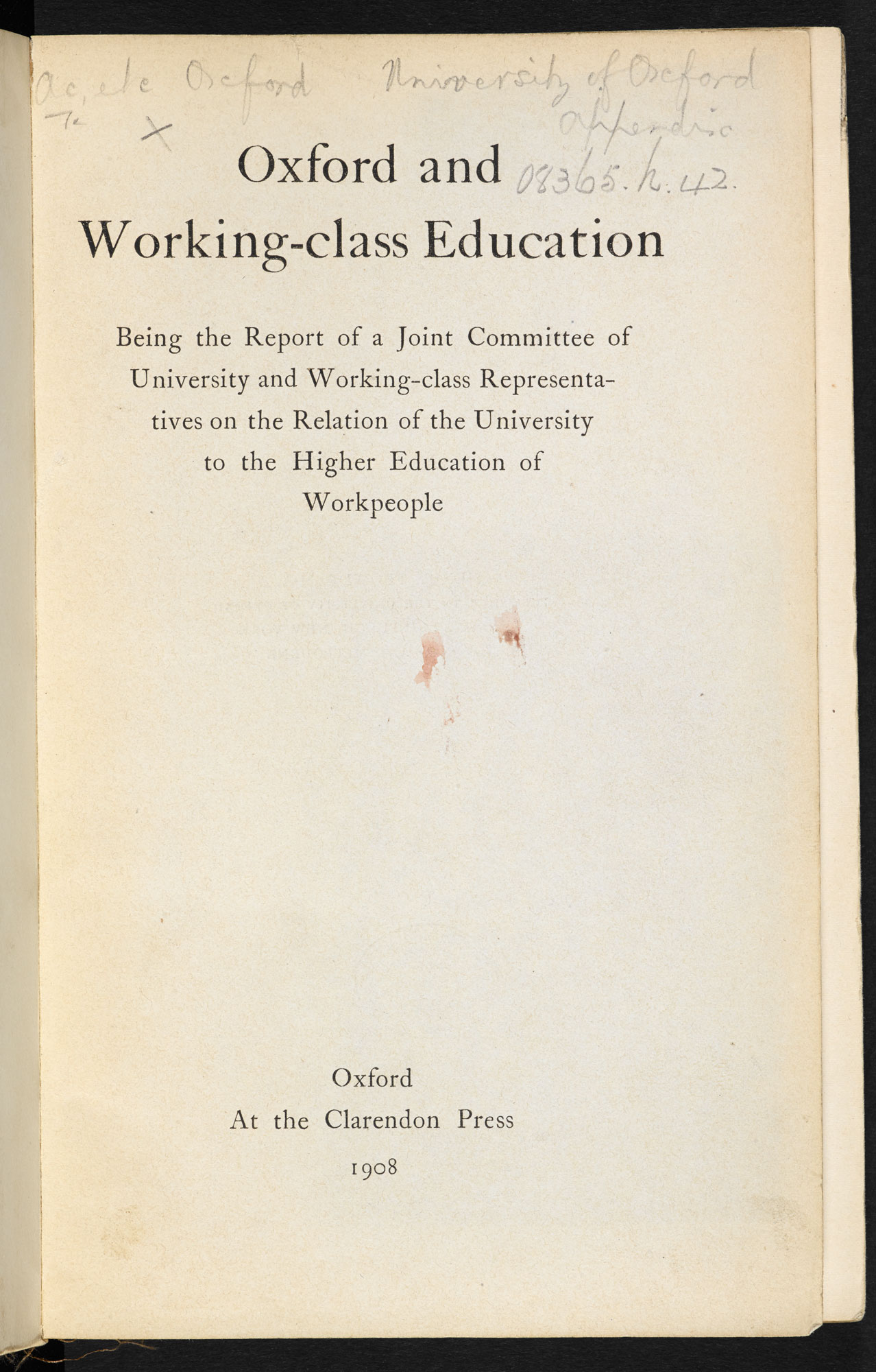 Oxford and Working-class Education, a report [page: title page]