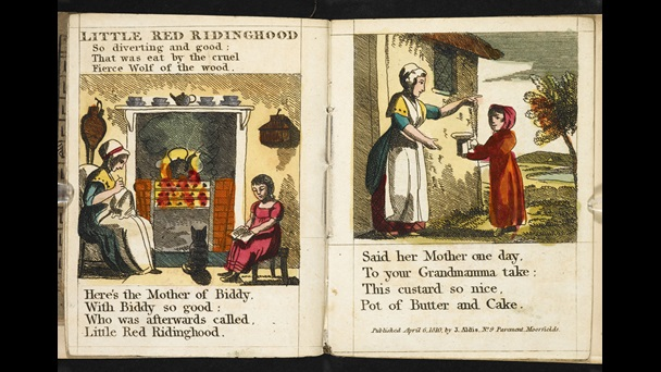 1810 edition of Little Red Riding Hood [page: 1-2]. The illustration on page 1 shows a child, her mother, and their cat sitting in front of the fire reading and sewing. The image on page 2 show the mother given her daughter a pie. Her daughter is standing outside the front door. She is wearing a long red hooded cloak.