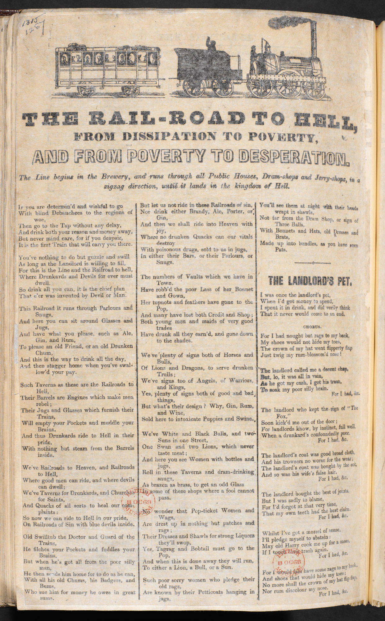 Broadside: The Railroad to Hell [page: single sheet [no. 1287]]