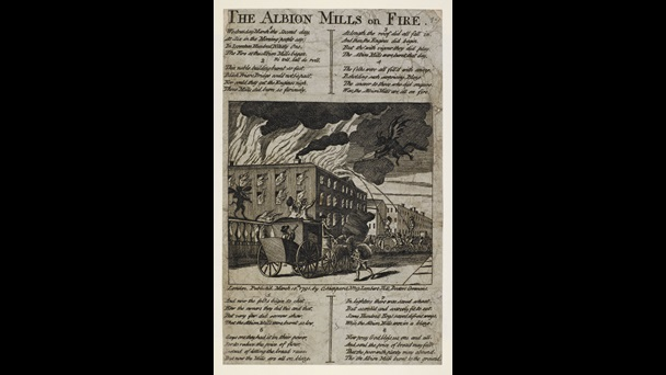 Broadside: Albion Mills on fire [page: single sheet]